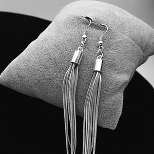 Noble Tassels Design Silver Plated Long Hook Dangle Earrings New Fashion Jewelry