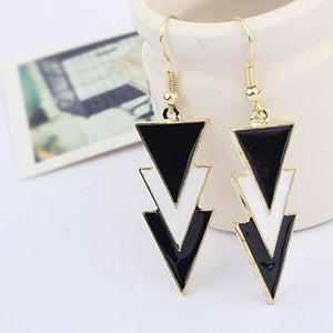 None Women Triangle Three Earrings Casual Black Charm Layers Hook Elegant Black White Of Pendant