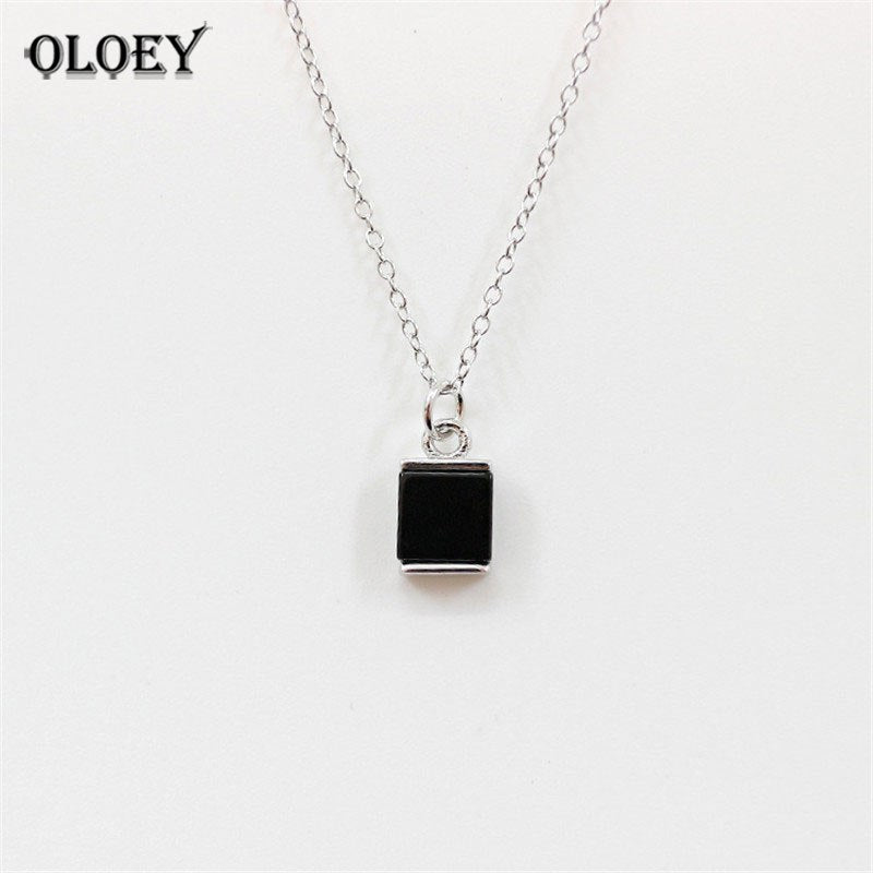CHIC Square Black Agate Necklaces & Pendants Real 925 Sterling Silver Chain Fine Jewelry For Women Gift Wholesale YMN068