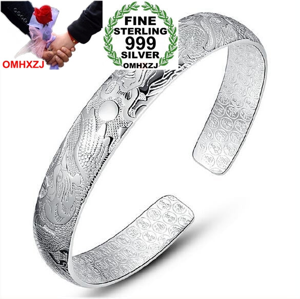 Wholesale fashion dragon phoenix ching cheung woman star Fine 999 Sterling Silver opening bracelet Bangles gift SZ18
