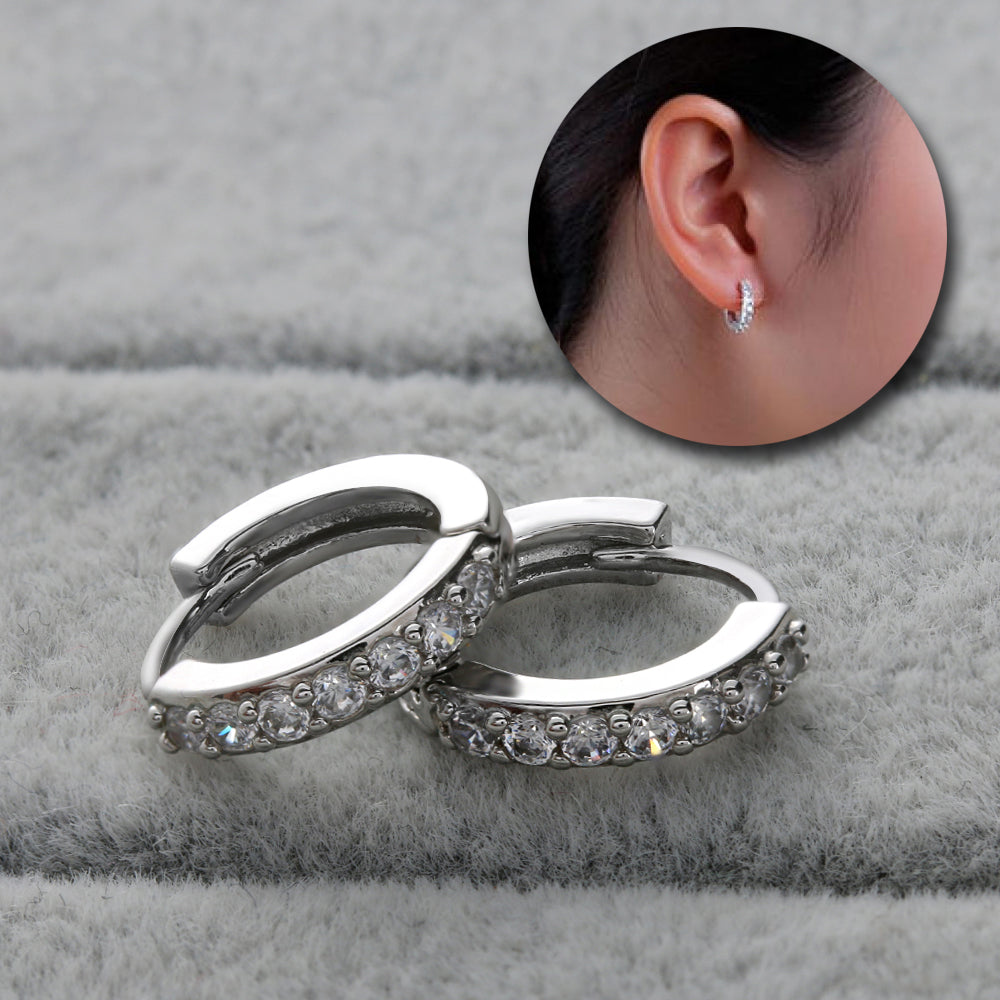 Okdeals Women Fashion Clear White Rhinestone Ear Studs Silver Plated Crystal Wedding Dangle Drop Earrings Jewelry