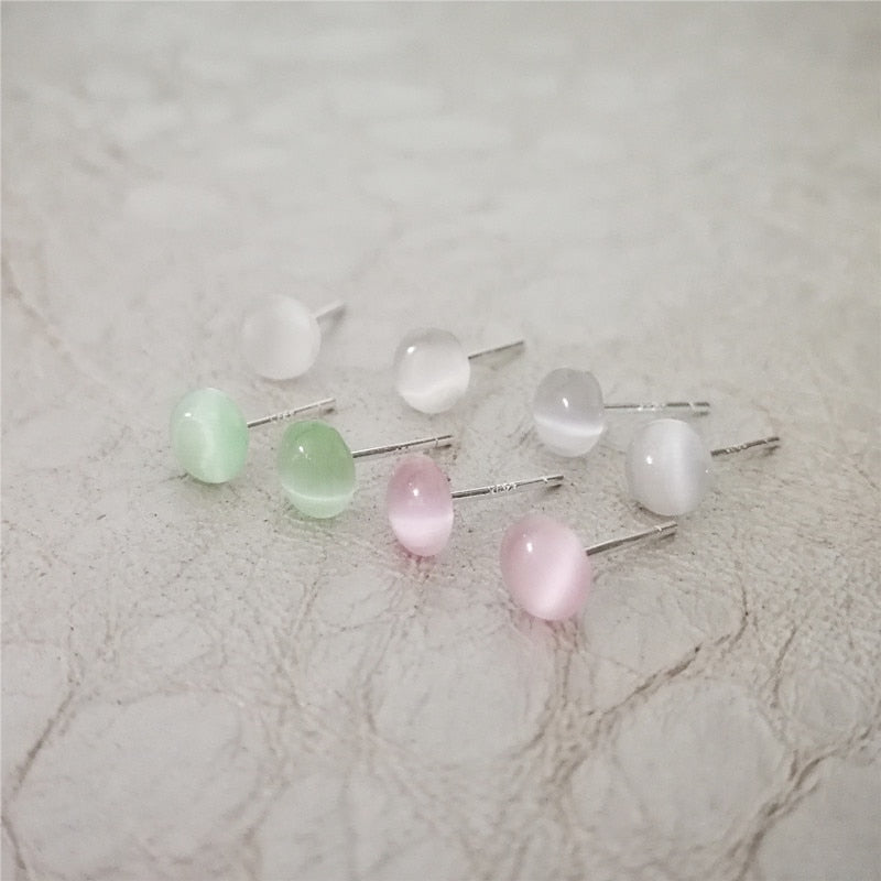 Opal S925 Pure Sterling Silver Stud Earrings for Women Round Shape Pink Green White Natural Stone Earrings Fashion Jewelry