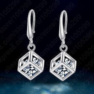 New Arrival Happy Cube 925 Sterling Silver Inside White Cubic Zirconia Square Hook Earring Women Fashion Accessory