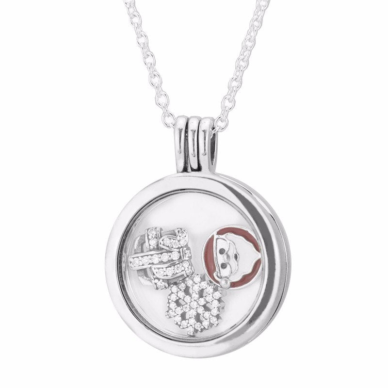 Christmas Petites Locket Necklace & Pendant Women 925 Sterling Silver Women Fashion Jewelry Floating Locket