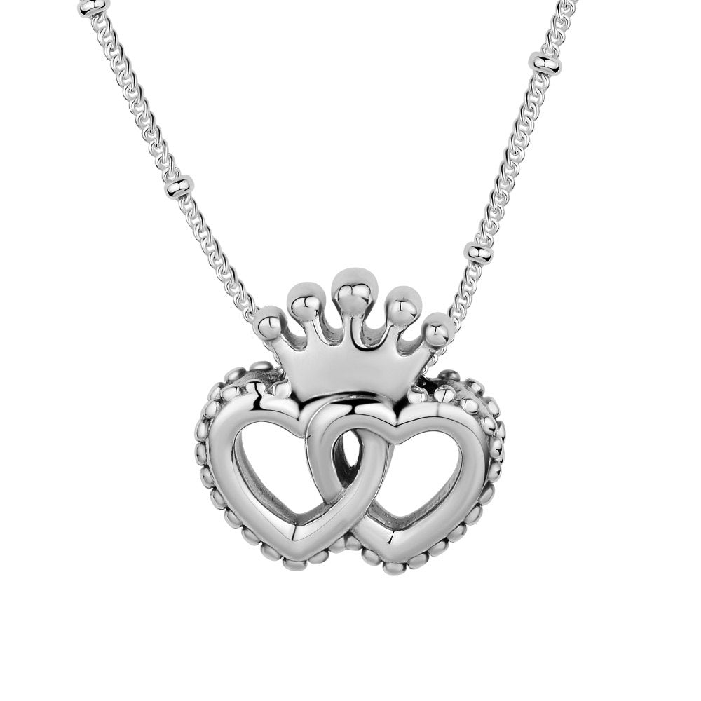 Interlocked Crown Hearts Necklace & Pendant 925 Sterling Silver Jewelry Women DIY Necklace Fit For Beads Fashion