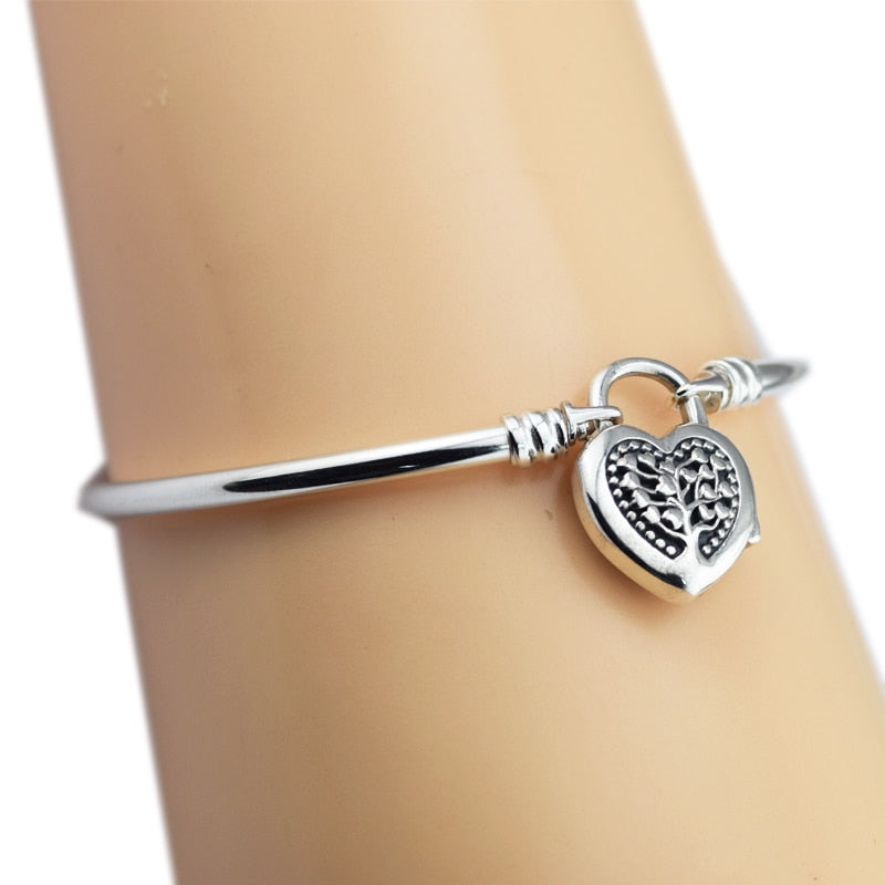 MOMENTS Sterling Silver Bangle with Tree of Love Sterling Silver Bracelet for woman DIY Fit European beads & Charms