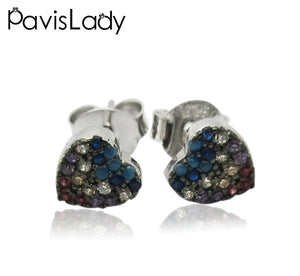Real 925 Sterling Silver Heart Earring With Mix Color Fine Jewelry in Perfect Quality for Women Gift