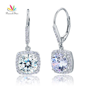 2.5 Carat Round Earrings Solid 925 Sterling Silver Bridal Wedding Dangle Jewelry CFE8122