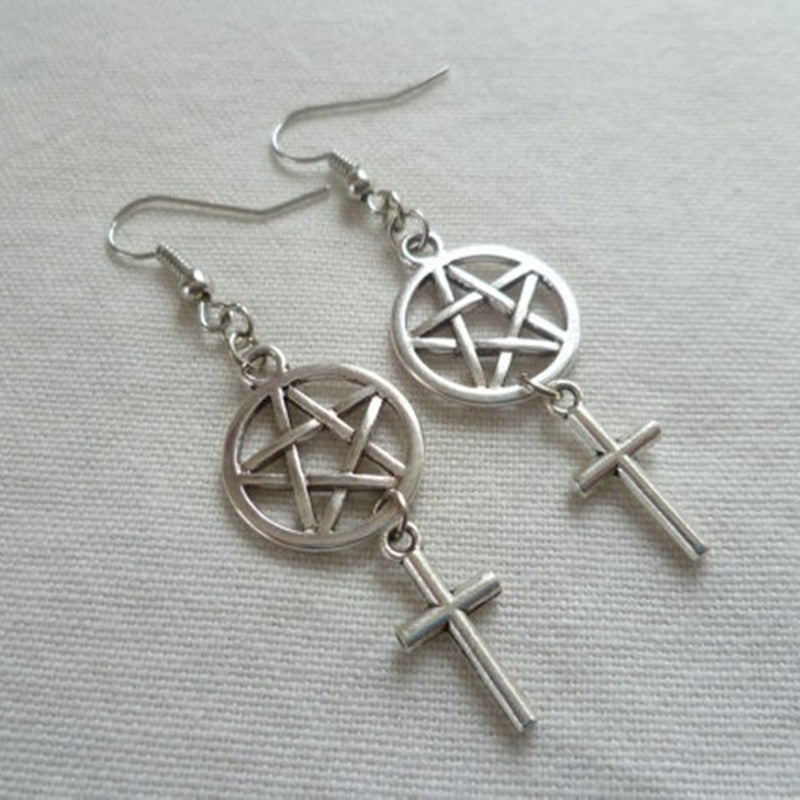 Pentagram and Cross,wiccan Jewelry,cross Earrings,pentagram Jewellery,pagan
