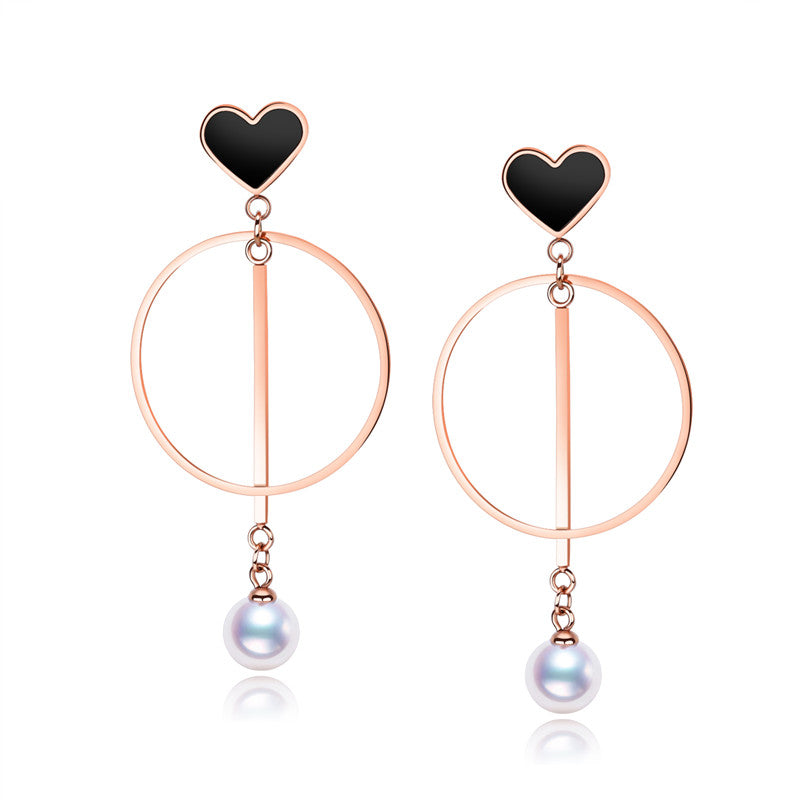 Personality Love Heart Earrings Stainless Steel Round Circle Earrings Long Earrings Imitation Pearl Earring Women Jewelry Gifts