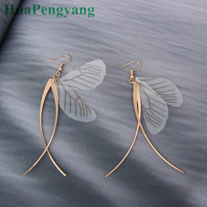 Personality Unique Hand-made Retro Senian Fairy Butterfly Wings Earrings Earrings Temperament Cross Female Earrings Wholesale