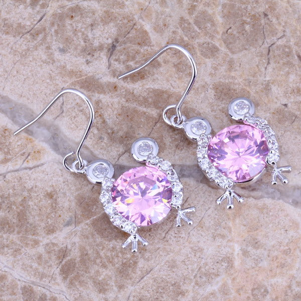 Pink & White CZ Silver Drop Dangle Frog Earrings For Women Free Gift Bag N0886