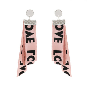 Pink colors Exaggerate Big Letter Ribbon Long Drop Earrings For Women Gift Fashion Jewelry
