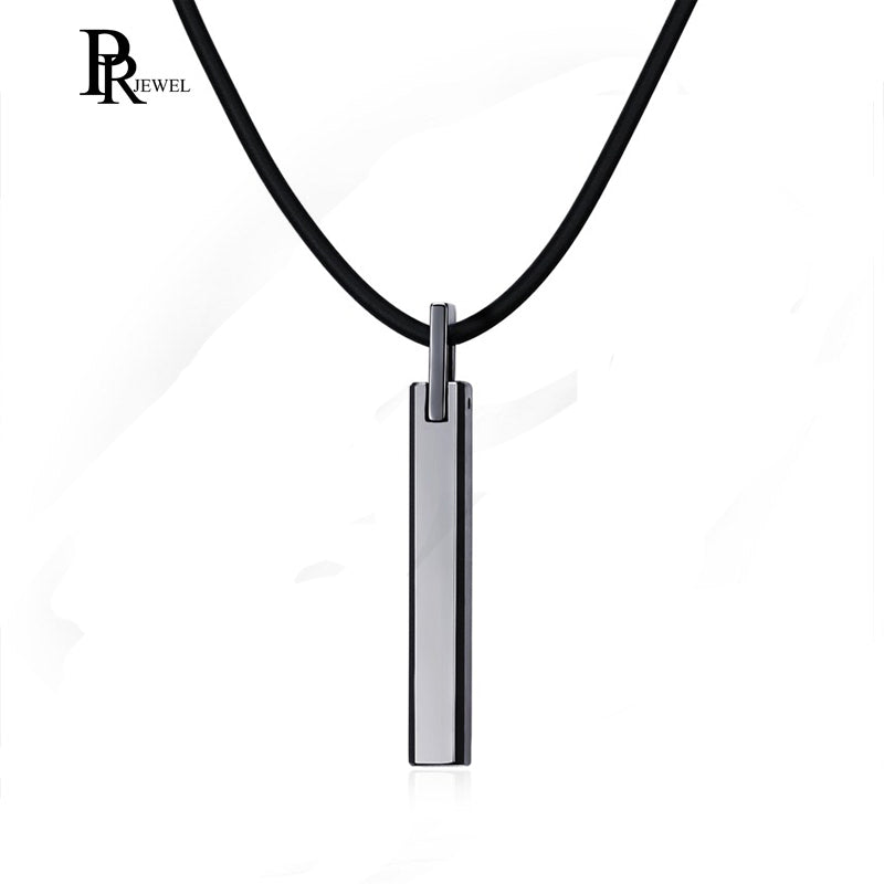 Polished Silver Tungsten Carbide Rectangle Pendant Necklace with 20 Leather Rope Chain for Men Boy