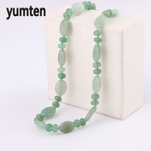 Power Nature Stone Short Necklace Women Aventurine Jade Bead Necklace Fine Jewelry Pentagram Mortal Kombat Horse Hamsa