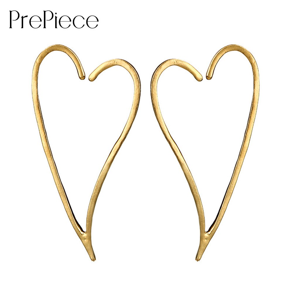 Big Heart Earring Alloy Hollow Stereo Stud Earrings Trendy Jewelry Accessories for Woman boucle d'oreille 2018 PE1276