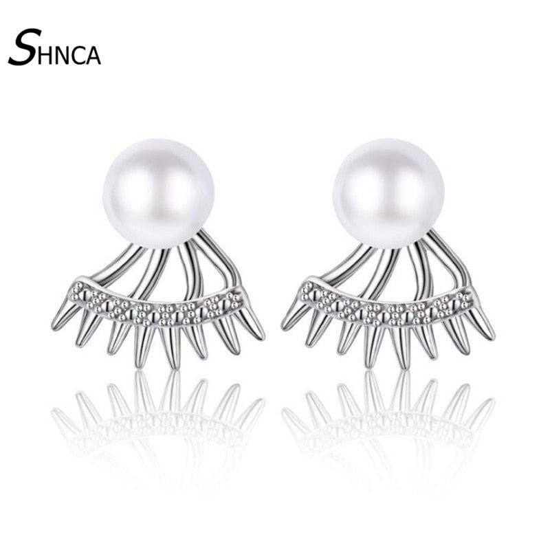 Prevent Allergy 925 Sterling Silver Unique Geometry Pearl Stud Earrings For Women After Hanging Earring Fashion Jewelry E170