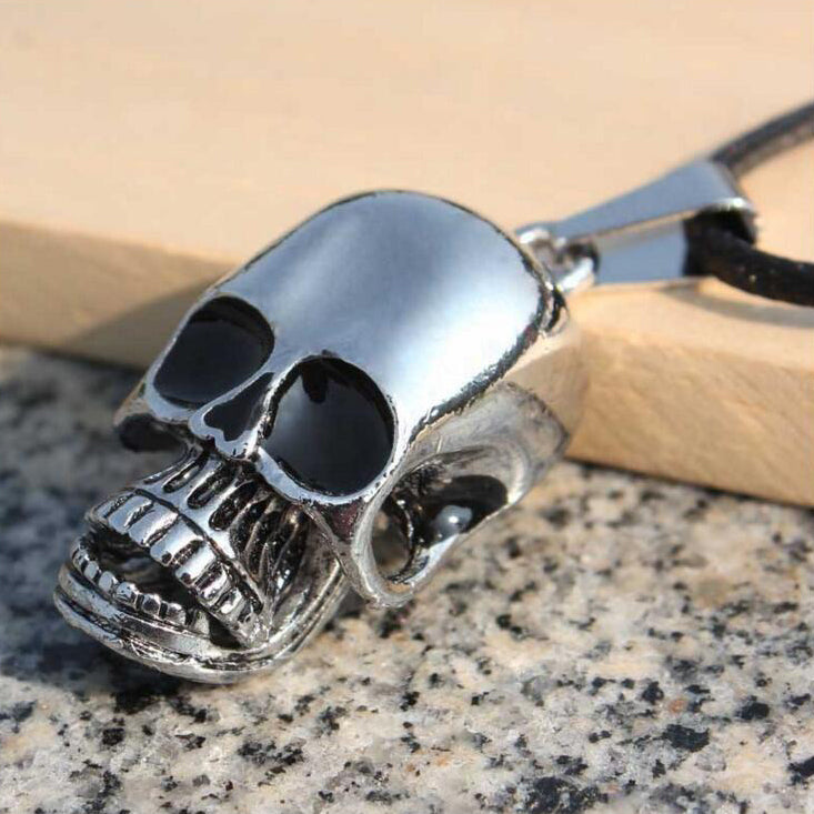 Punk Men Necklace Stainless Steel Gothic Personalized Skull Pendant Necklace Best Gift For Man With Mouth Can Shrink