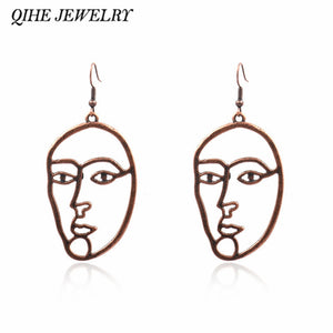 Face Earrings Bronze Picasso Statement Earring Ear jewelry Earrings for women Gifts for female girl