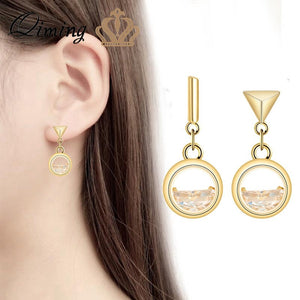 Champagne Stone Women's Earrings Triangle Round Geometric Asymmetric Ocean Wave Luxury Earrings Wedding Jewelry