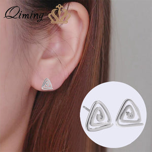Geometric Triangle Stud Earrings Female Lady Small Gifts Simple Design Rotate Wholesale Jewelry Silver Women Earrings