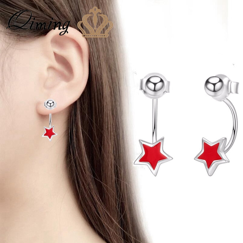 Red Star Stud Earring Female Women Round Ball Charm Korean Wholesale Jewelry Anniversary Birthd Gift Girls Earrings