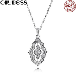 925 Sterling Silver Pendant With Cubic Zirconia And Necklace Original Clear CZ Fit Charm Diy Jewelry