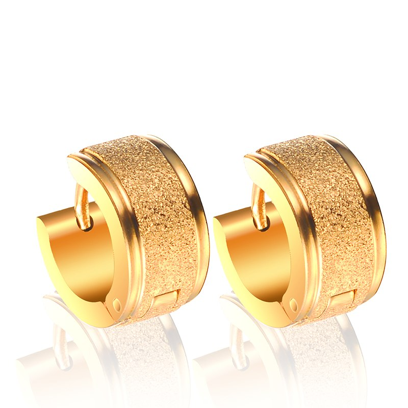 8MM New Fashion 316L Stainless Steel Jewelry Gold Wedding Earrings for women mens Enagagement Wedding jewelry HOT