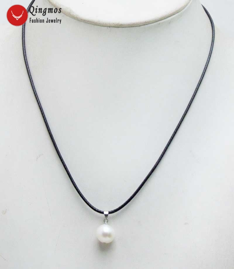 10-11mm Potato White Natural Pearl Pendant Chokers Necklace for Women & Free 17-18 cord Fine Jewelry-nec6354