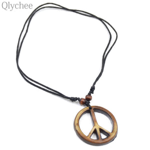 Q Manmade Ox Bone Resin Peace Symb Pendant Necklace Beads Decorative Rope LongChain Men Women Necklace Unisex