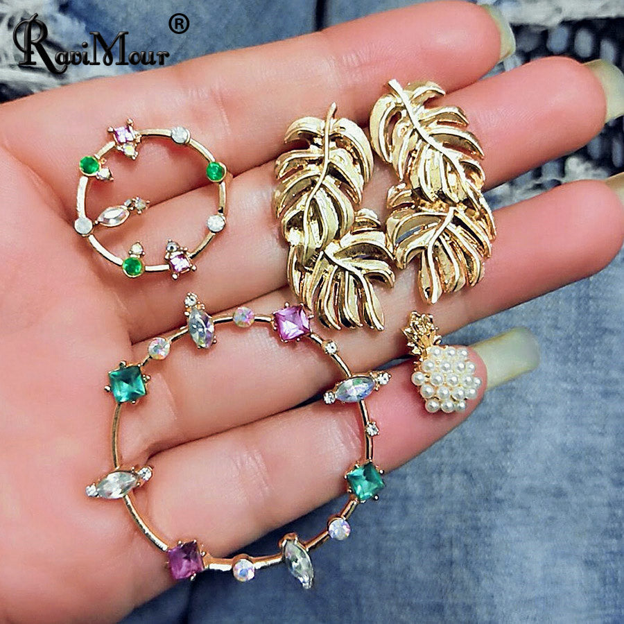 RAVINOUR Boho Statement Stud Earrings for Women Big Small Circle Leaves Multicolor Crystal Pinapple Earings Fashion Jewelry 2018