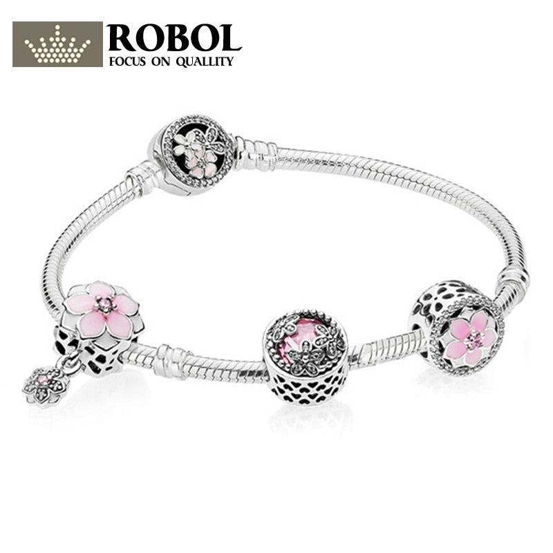 Genuine 100% 925 Sterling Silver Bracelet For Set Europe Women Spring flowers Star Original birthd Gift charm Jewelry