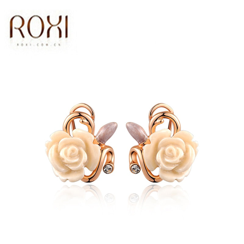 Brand New Fashion Rose Gold Color Crystal Women Earrings Gift for Girlfriend New Womens Elegant Jewelry Ear Stud Earrings
