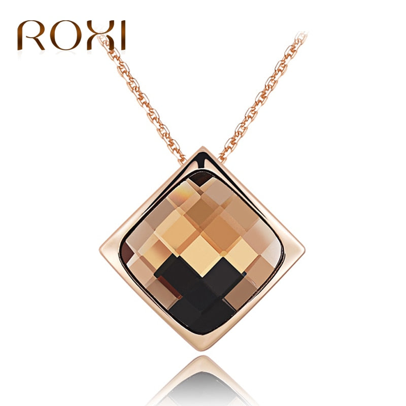 Women Necklace Rose Gold Statement Necklace Jewelry Crystal Pendant Necklace for Women Long Choker Charm Collier Femme