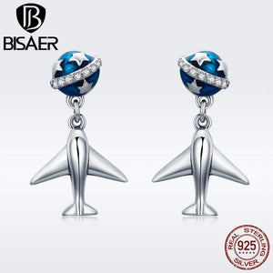 Real 100% 925 Sterling Silver Blue Planet Plane Star Tours Drop Earrings for Women Girl Fine Jewelry Silver Gift Brincos Femme