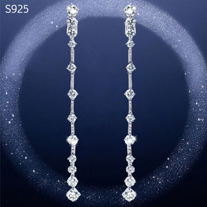 Real Pure Genuine Solid 925 Sterling Silver Long Dangle Drop Earrings for Women Cubic Zircon Crystal Wedding Tassel Earrings