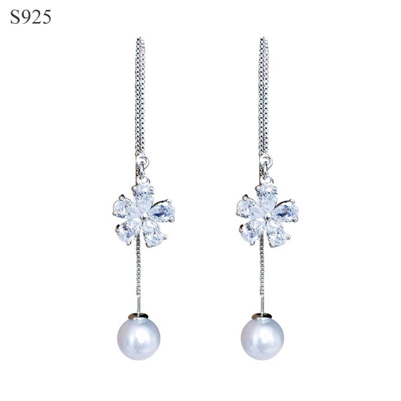 Real Pure Solid 925 Sterling Silver Long Dangle Tassel Earrings Women Jewelry Double Side Pearl Cubic Zircon Female Drop Earring