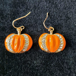 Halloween Orange Pumpkin Shape Epoxy with Rhinestone Pendant Earrings Cute Design Jewelry For Party