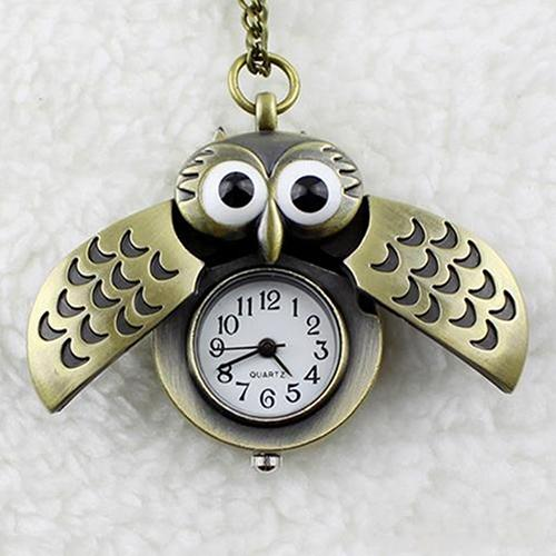 Retro Owl Shape Pendant Analog Pocket Watch Chain Necklace Unisex Jewelry Gift
