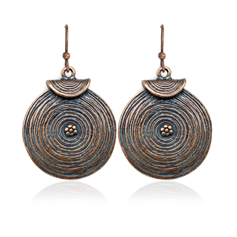 Retro Spiral Texture Disc Water Ripple Earrings Bronze Ethnic Simple Rustic Bohemian Woman Fashion Holid Jewelry