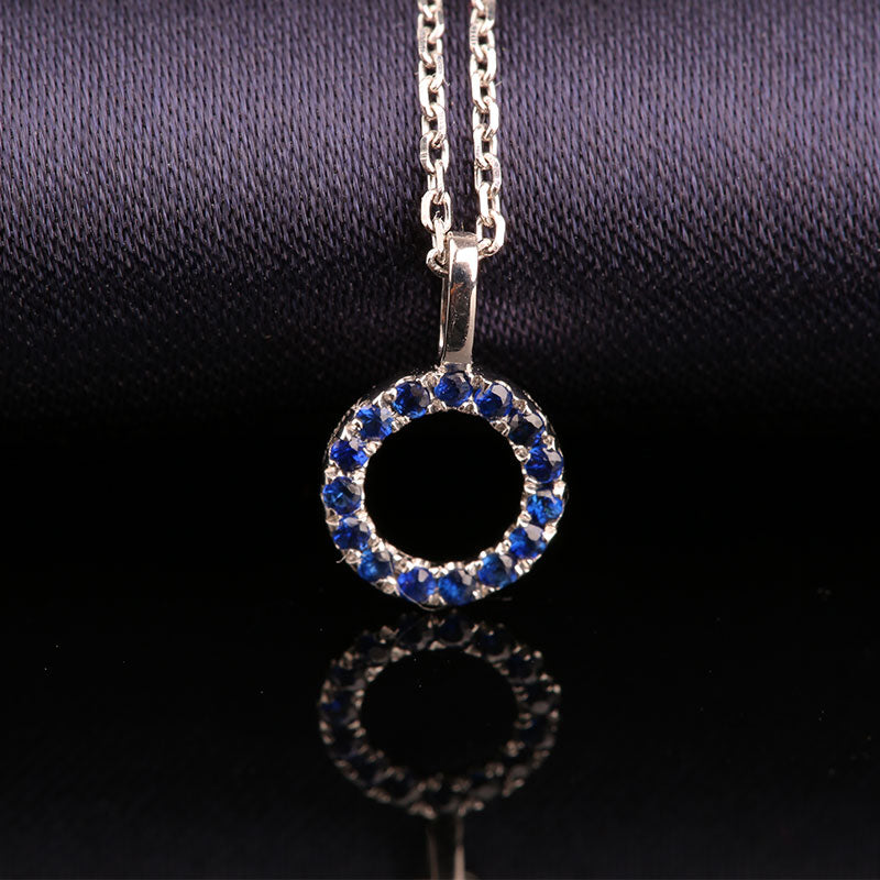 Elegant Sapphire Blue Jewelry 14K Gold Natural Gemstone Pendants Fashion Necklace Statement Fine Jewelry for Women