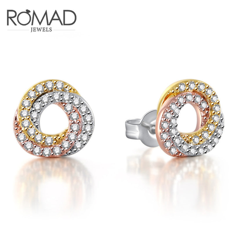 New Micro Zircon Ladies Earrings Shinny Fashion Jewelry Wedding Gift Multi Color Round Stud Earrings For Women Girls R5UID