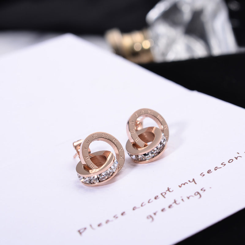 Rose Gold Roman Numerals Zircon Stud Earring for Women Titanium Steel Fashion Jewelry