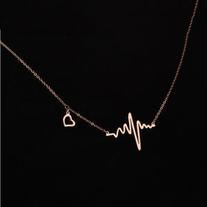 Rose Gold Stainless Steel Heartbeat Pendant Cardiogram Necklace Lady Electrocardiogram Pendant Heart Rhythm Simple Necklace Gift