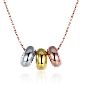 Rose Yellow White Gold Three Circles Pendant Women Men Necklace For Party Performance Casual High Quality Jewelry