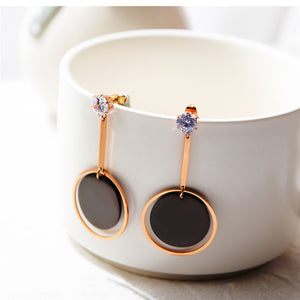 Round Earrings Women Fashion Original Crystal Stud Earrings Rose Gold Color Jewelry Pendant Pendientes 2018 Mothers D Gifts