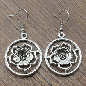 Round Flower Drop Earrings Vintage Round Flower Dangle Earrings Round Flower Earrings For Women Dropshipping