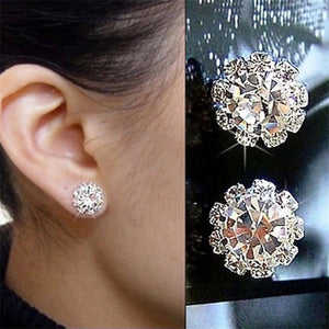 Round Shiny Stud Earrings for Women Female 2018 Boucle d'oreille Crystal Earring Silver Color Bijoux Jewelry Brincos Mujer E053.