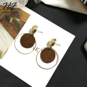 Round Wooden Earrings For Women Gold-Color Earings Fashion Jewelry Vintage Xmas Gift For Girl KA178