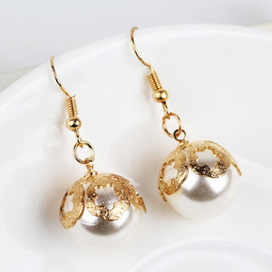 Round simulated Pearl Earrings Flower Dangle Earrings Fashion Jewelry Christmas Present 2017 new korean version